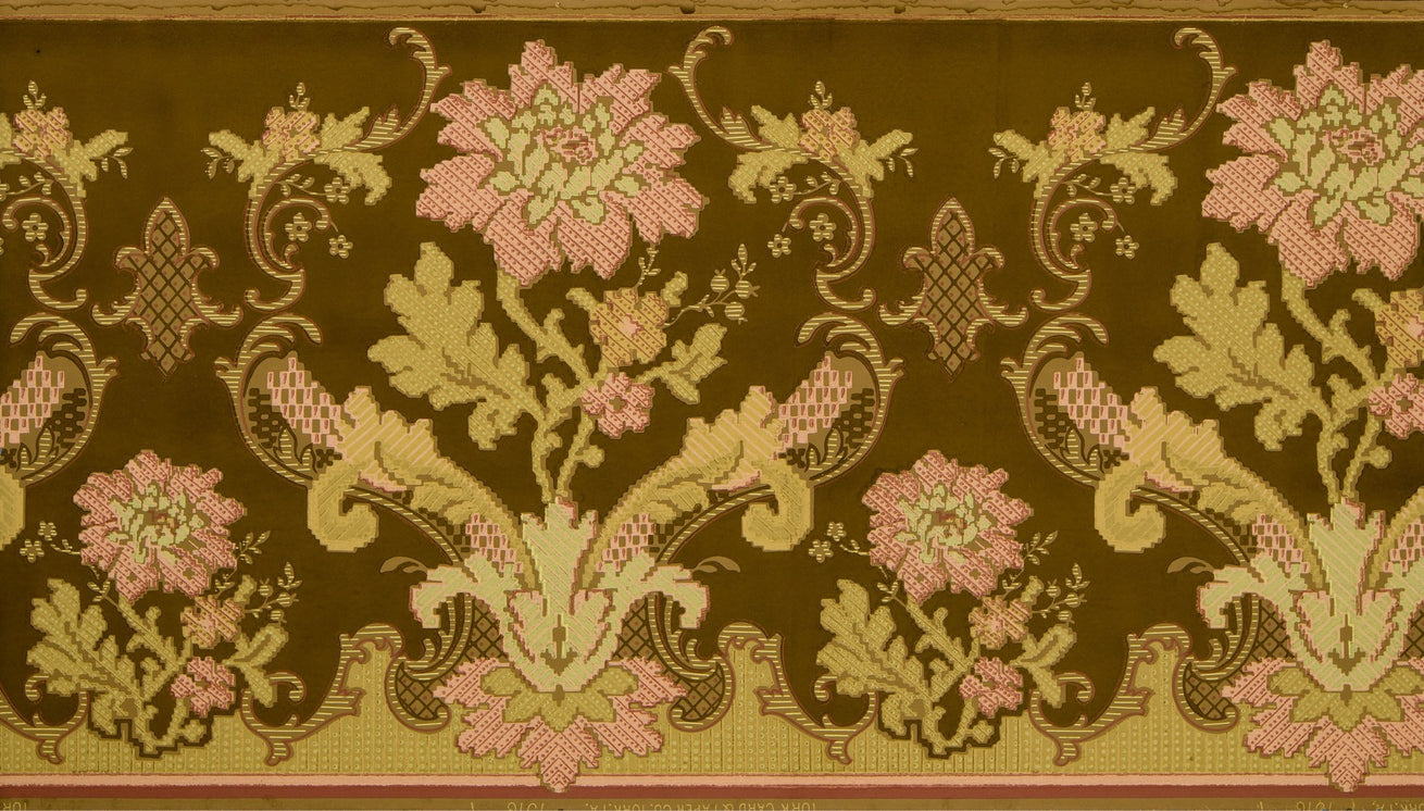 Conventionalized Floral Tapestry Frieze - Antique Wallpaper Remnant