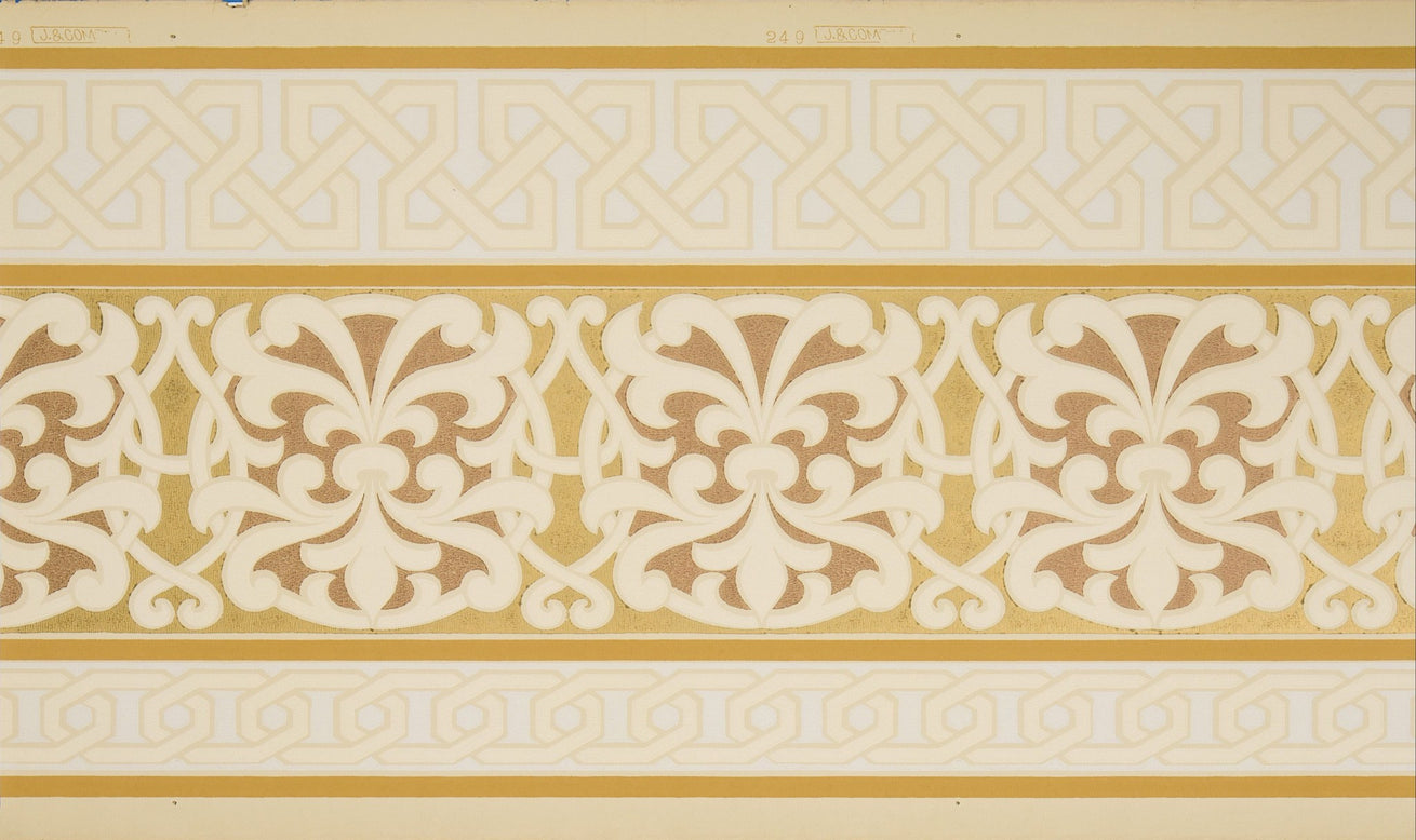 Interlocking Circular Arabesques - Antique Wallpaper Remnant