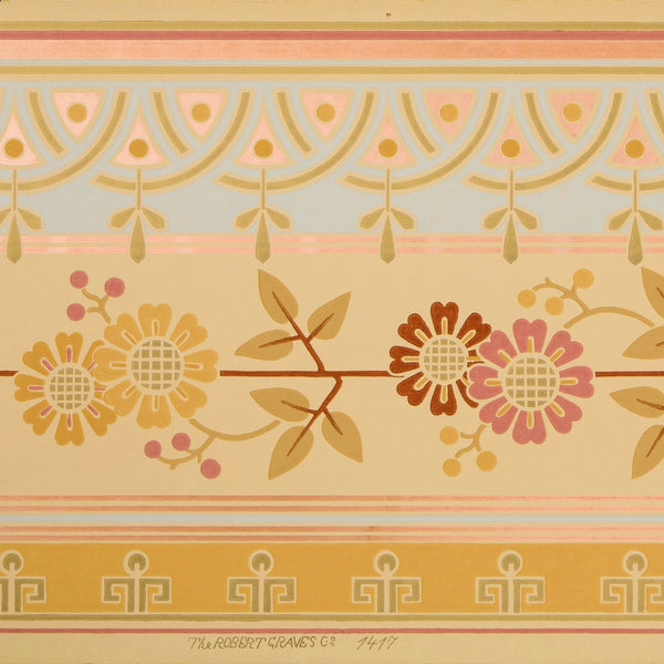 Conventionalized Asymmetric Floral Border - Antique Wallpaper Remnant