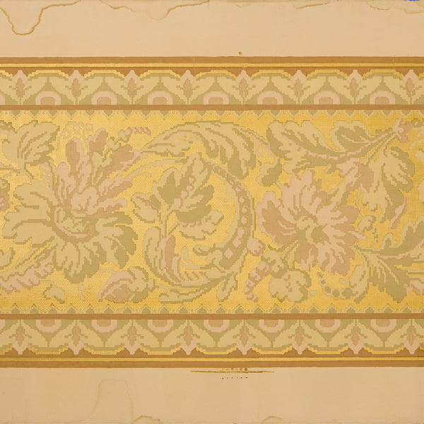 Scrolling Floral Foliate Tapestry Border - Antique Wallpaper Remnant