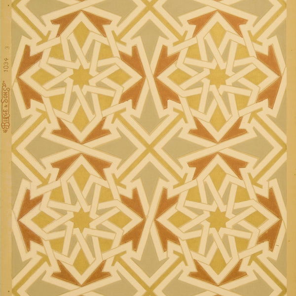 Gilt Interlocking Geometric Patterns - Antique Wallpaper Remnant