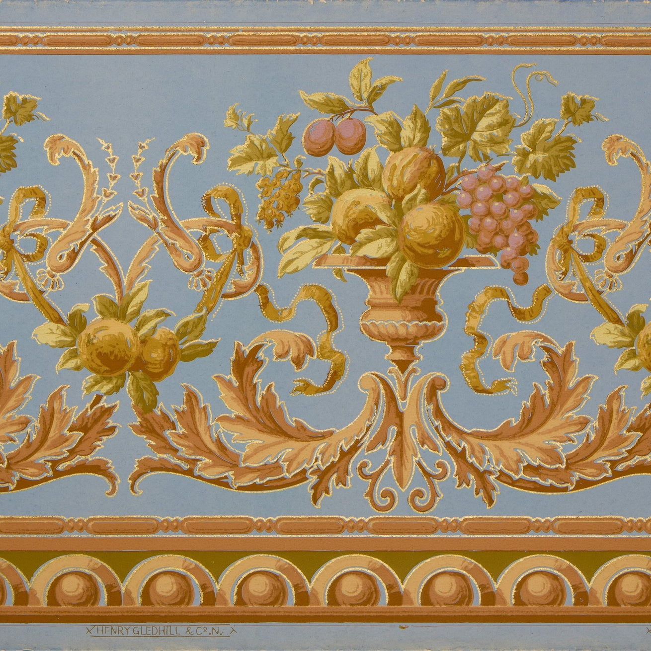 Classical Frieze with Urns, Fruit, Ribbons - Antique Wallpaper Remnant
