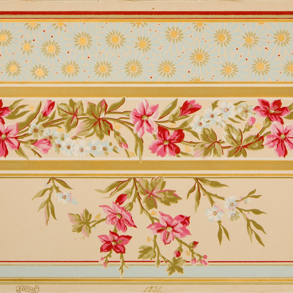 Asymmetric Gilt Floral Vine Border - Antique Wallpaper Remnant