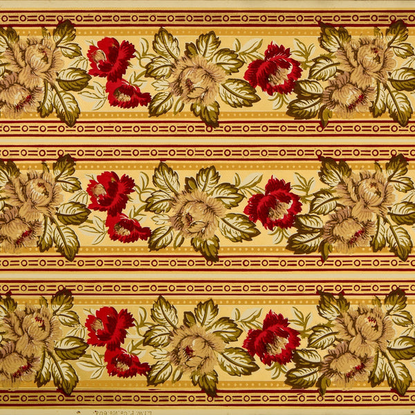 "3-Band 6-1/4"" Gilt Floral Border - Antique Wallpaper Roll"