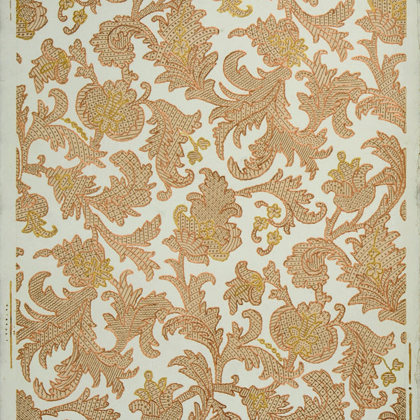Embossed Gilt All-Over Floral/Foliate - Antique Wallpaper Remnant
