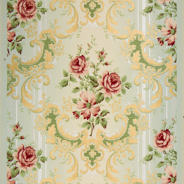 Rose Bouquets with Mica Stripes - Antique Wallpaper Rolls