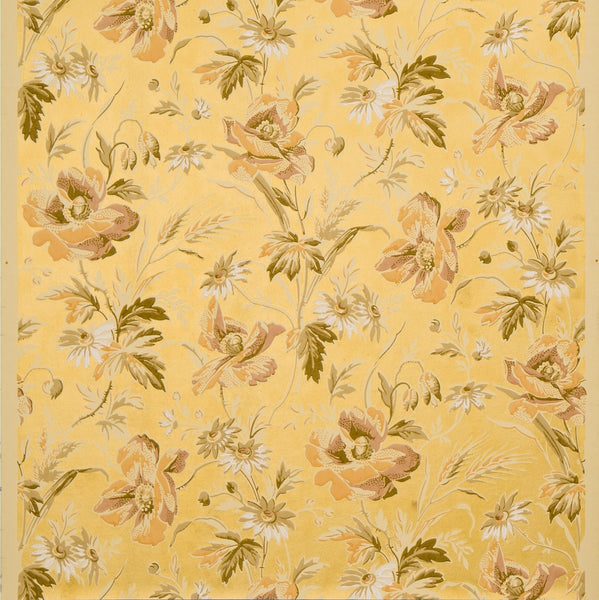 Poppies and Wheat on Gilt Background - Antique Wallpaper Remnant