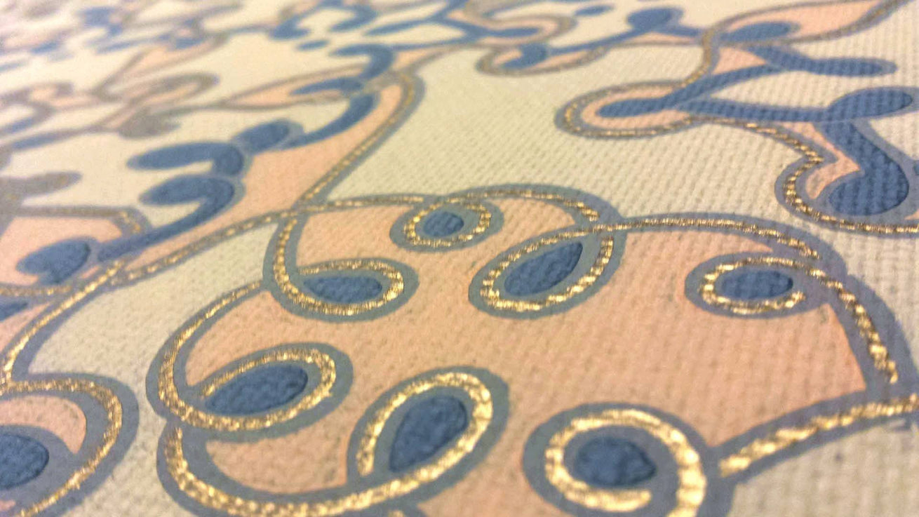 Entwined Semi-Moorish Filagree - Antique Wallpaper Remnant