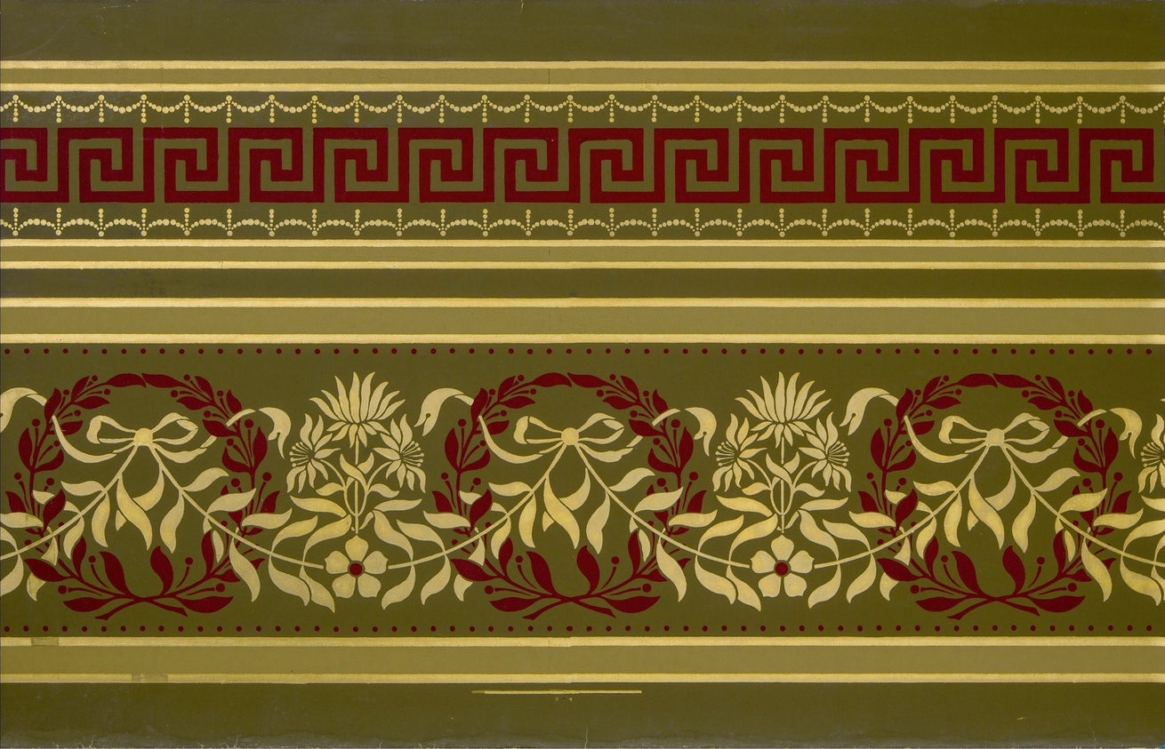 Border with Wreaths/Garlands/Greek Keys - Antique Wallpaper Remnant