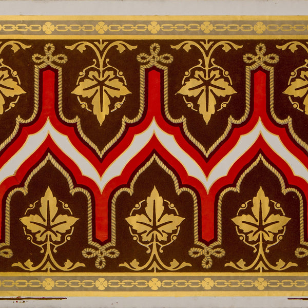 "11"" Flocked Gilt Gothic (Double) Border - Antique Wallpaper Remnant"