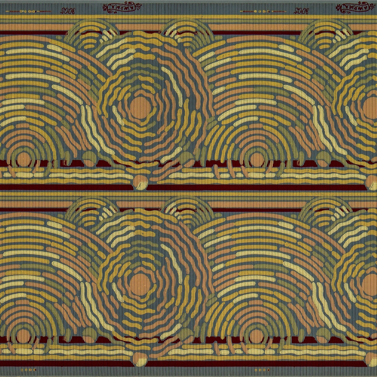 "9"" Swirling Border of Concentric Circles - Antique Wallpaper Remnant"