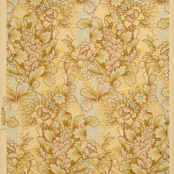 Flowing All-Over Floral/Foliate - Antique Wallpaper Remnant