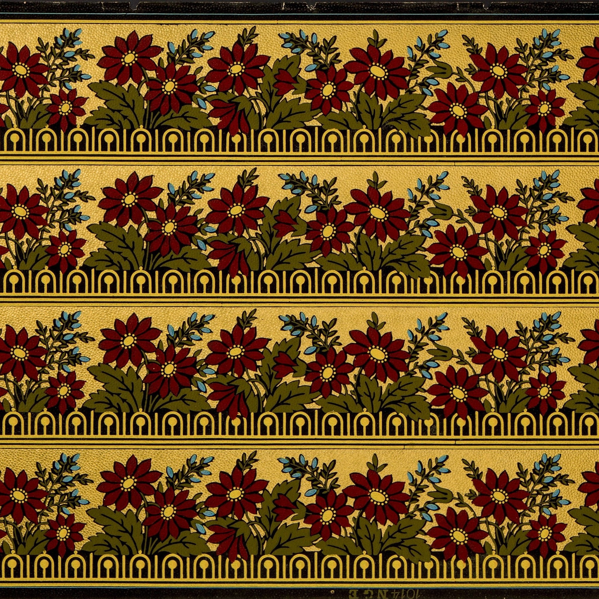interior wall paneling 4 5 8 quot gilt stylized floral border antique wallpaper 10239