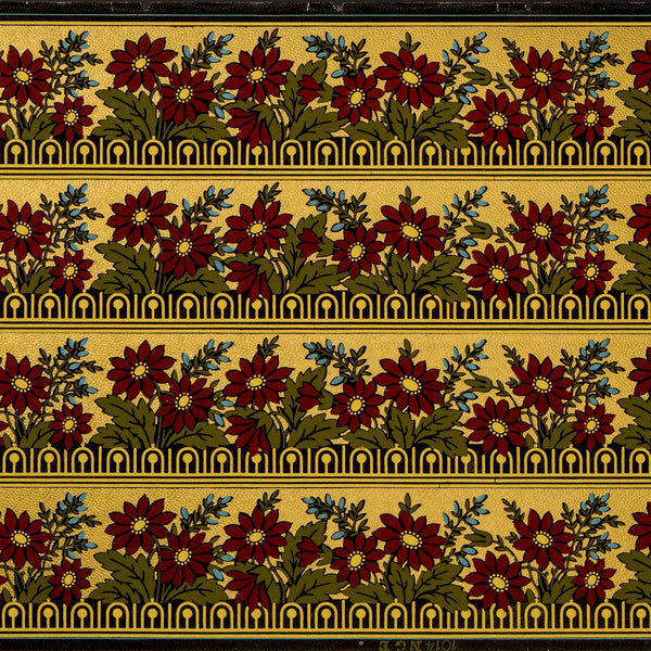 "4-5/8"" Gilt Stylized Floral Border - Antique Wallpaper Roll"