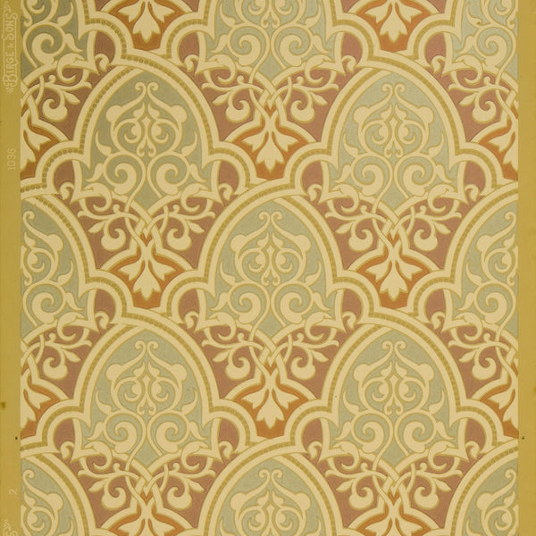 Gilt Moorish Piscine Diaper - Antique Wallpaper Remnant