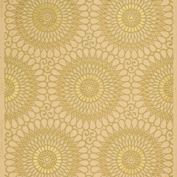 Spirographic Filigree Circles with Flitter - Antique Wallpaper Remnant