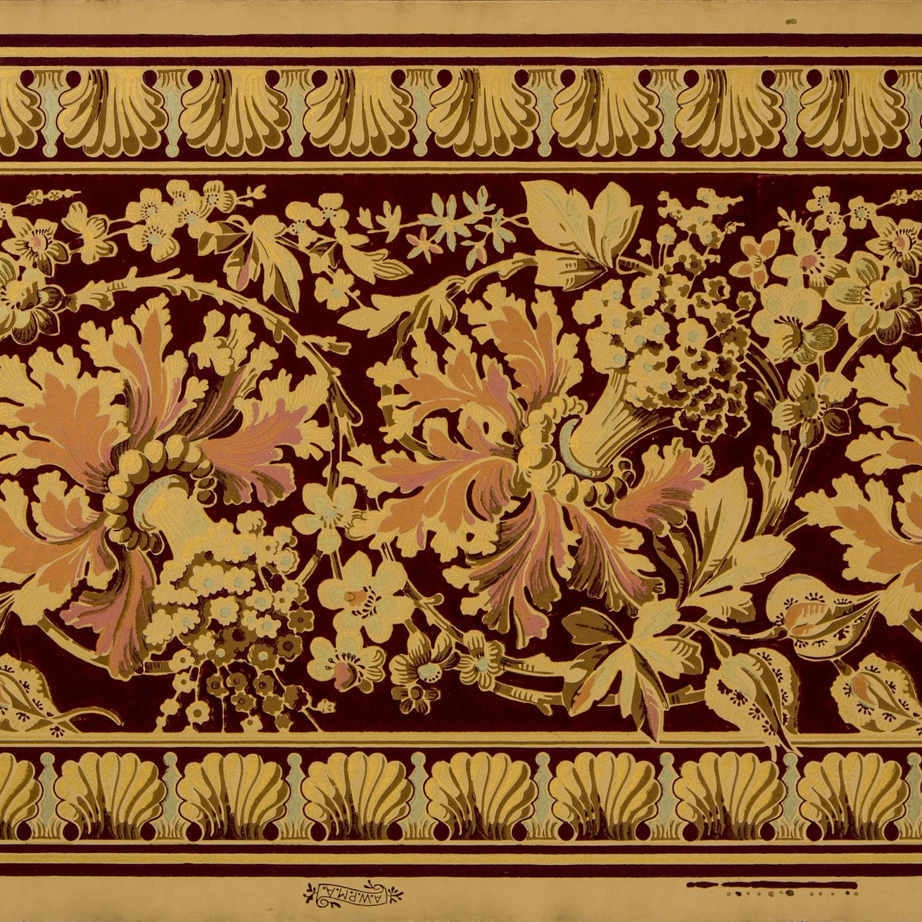 Flocked Metallic Floral/Foliate Border - Antique Wallpaper Remnant
