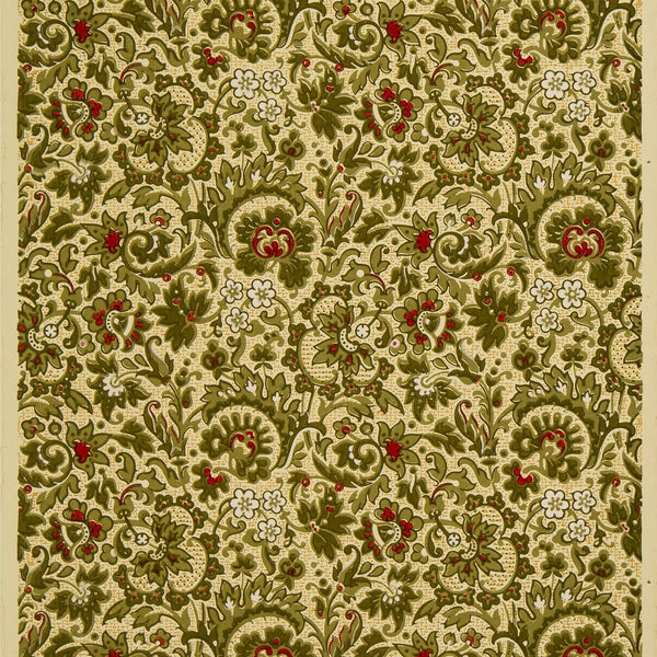 Dense Stylized All-Over Floral/Foliate - Antique Wallpaper Remnant