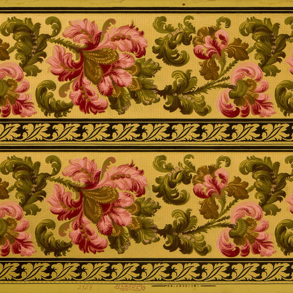 "9-3/8"" Gilt Floral/Foliate Border - Antique Wallpaper Remnant"