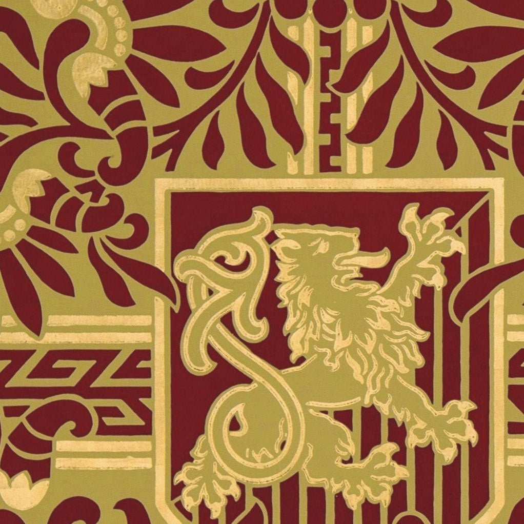Heraldic with Gilt Rampant Lions - Antique Wallpaper Remnant
