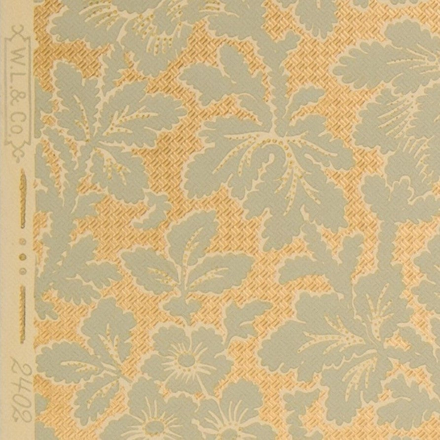 All-Over Floral/Foliate with Gilt Background - Antique Wallpaper Remnant