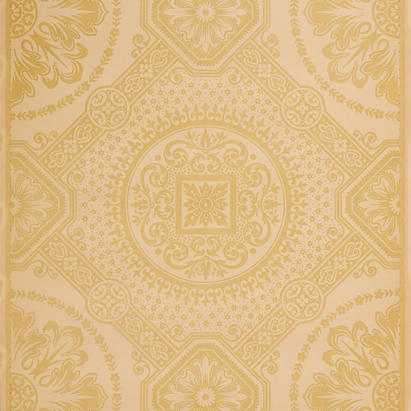 Large-Scale Grid with Foliate Circles - Antique Wallpaper Remnant