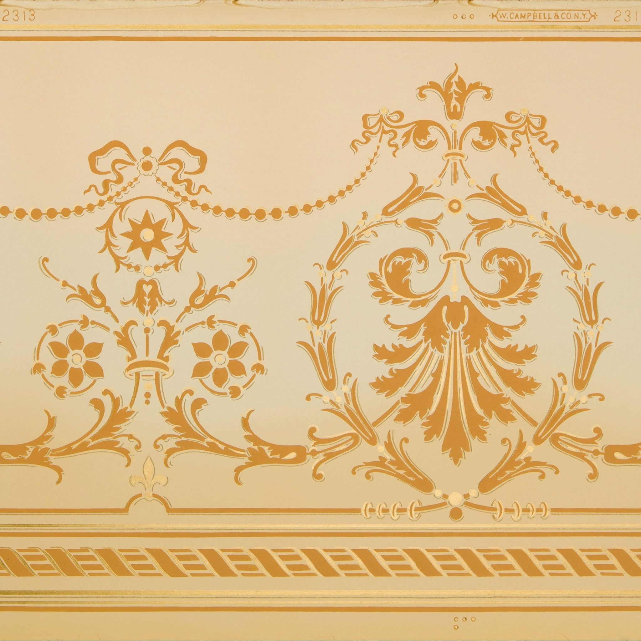 Blended Frieze With Delicate Swags Florals Antique Wallpaper