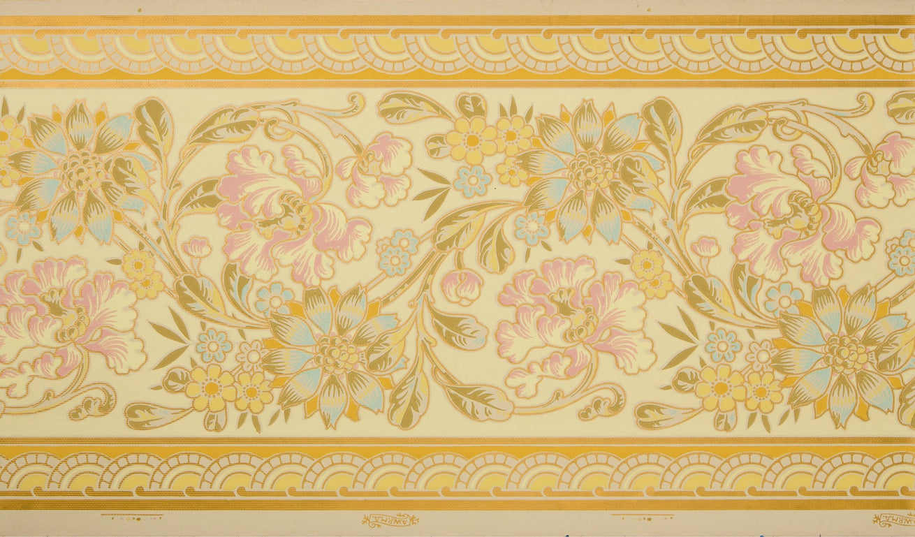Large Stylized Floral/Foliate Border - Antique Wallpaper Remnant
