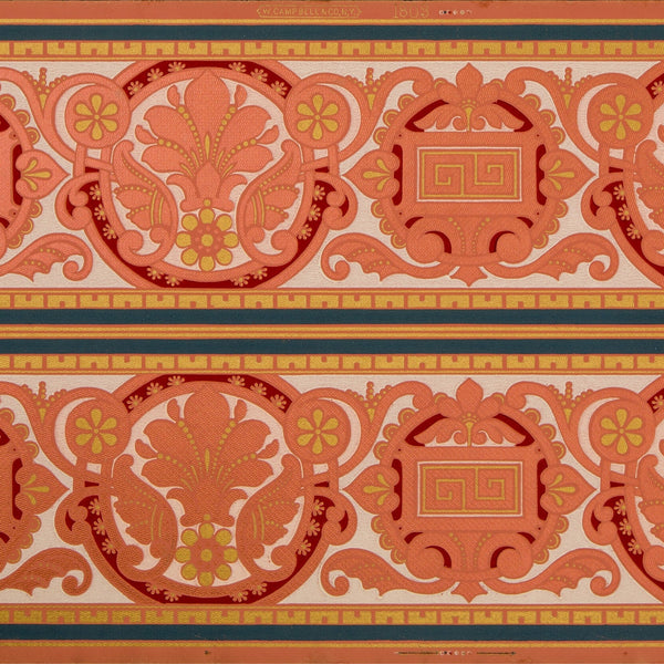 "9-3/8"" Conventionalized Foliate Border - Antique Wallpaper Remnant"