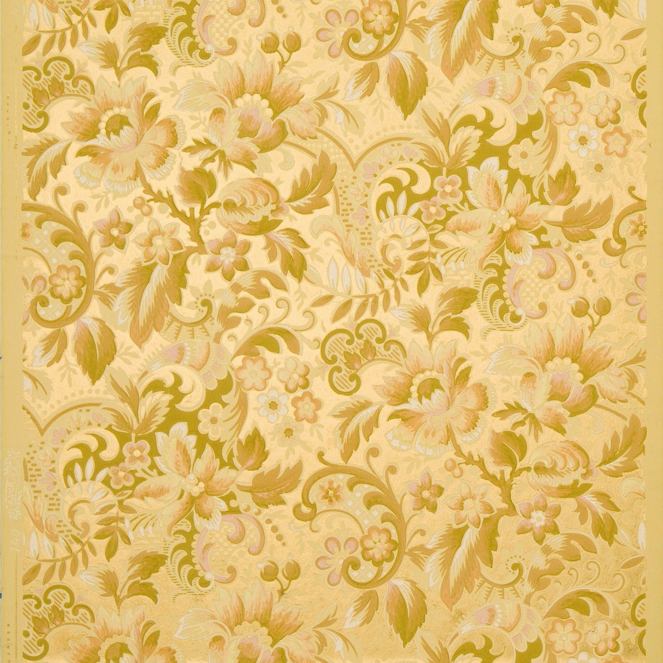 Pale All-Over Floral Foliate - Antique Wallpaper Remnant