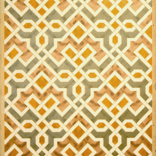 Geometric Interlocking Moorish Metallic - Antique Wallpaper Remnant