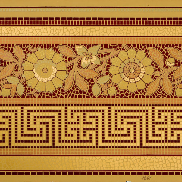 Greek Key and Floral Gilt Mosaic Border - Antique Wallpaper Remnant