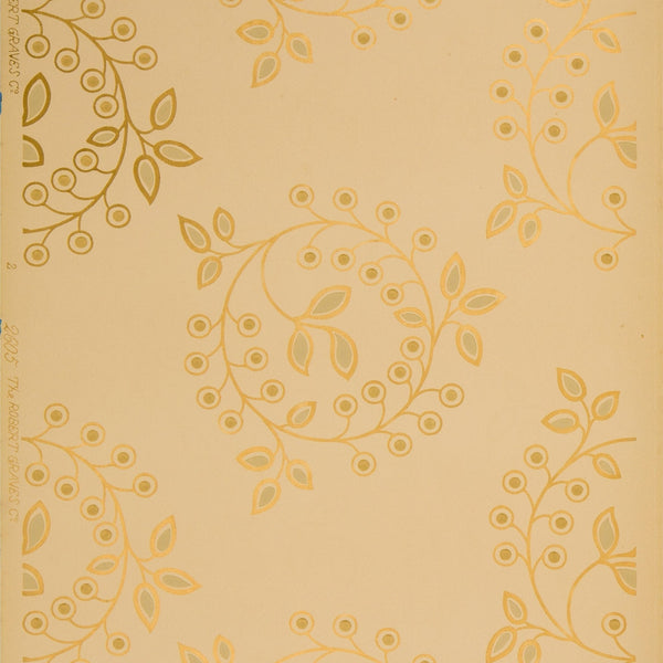 Gilts Circles of Stylized Leaf Forms - Antique Wallpaper Remnant