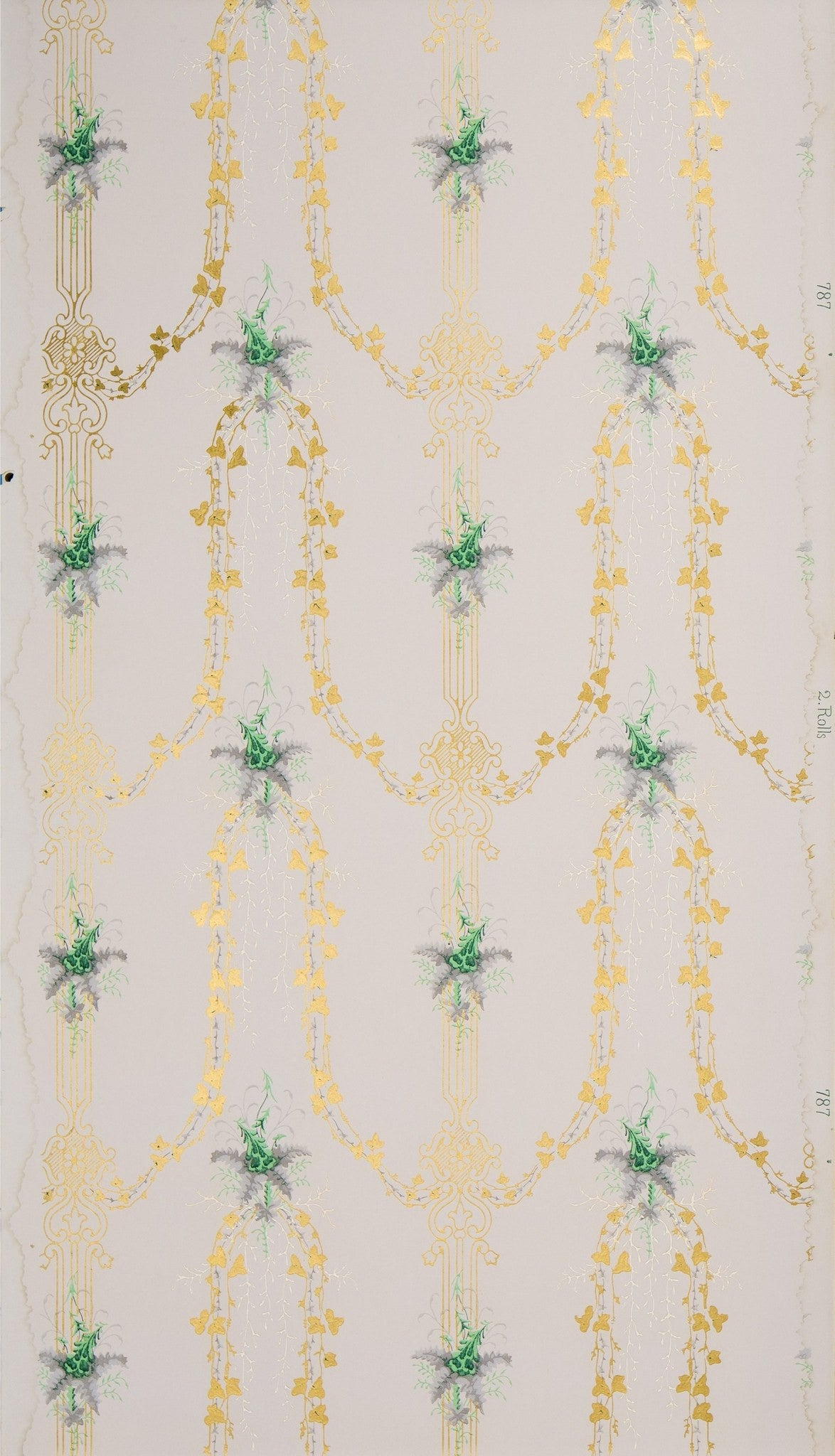 Delicate Foliate Sprays and Gilt Vines - Antique Wallpaper Remnant