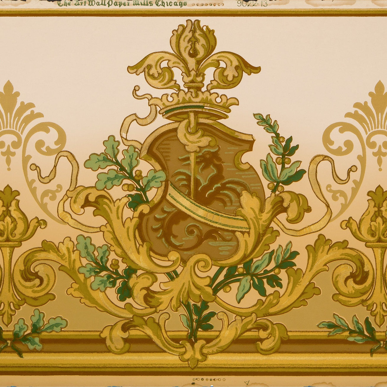 Heraldic Frieze with Shield and Leafy Scrolls - Antique Wallpaper Remnant