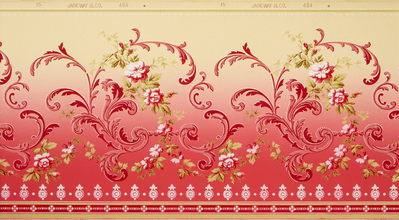 Blended Frieze with Rosevines and Scrolls - Antique Wallpaper Remnant