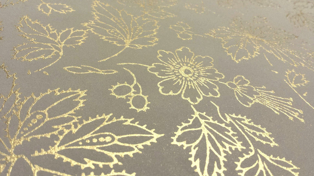 All-Over Gilt-Outlined Flowers and Leaves - Antique Wallpaper Remnant