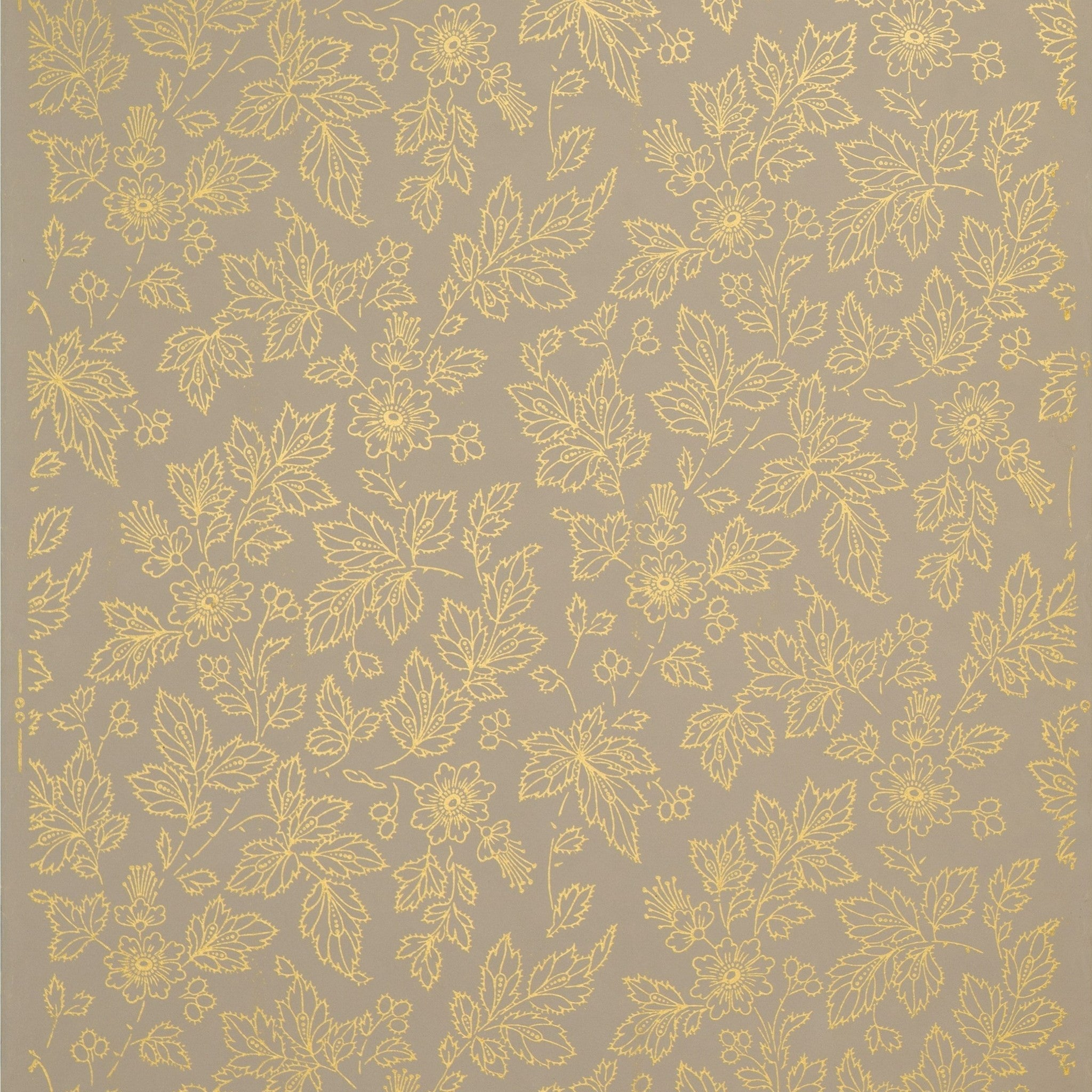 All over gilt outlined flowers and leaves antique for Wallpaper remnants