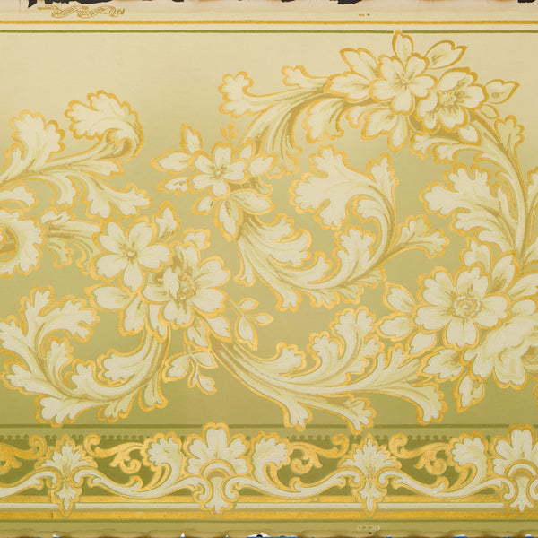 Scrolling Floral Foliate Blended Frieze - Antique Wallpaper Remnant