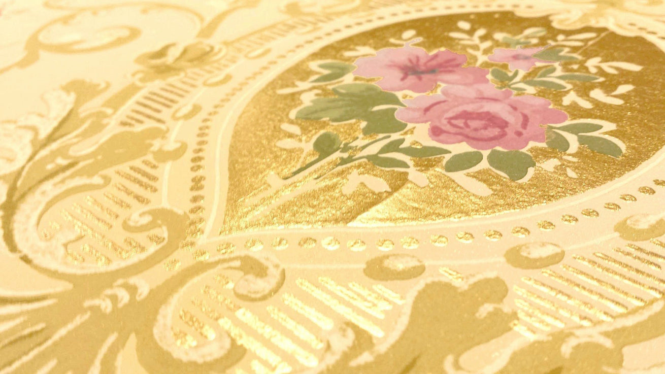 Blended Frieze with Gilt Scrolls, Rose Swags - Antique Wallpaper Remnant