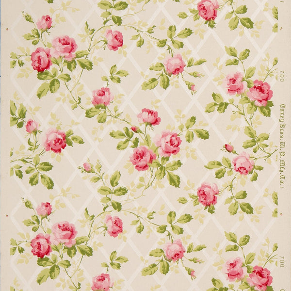 Rose Vines on Diamond Mica Lattice - Antique Wallpaper Remnant