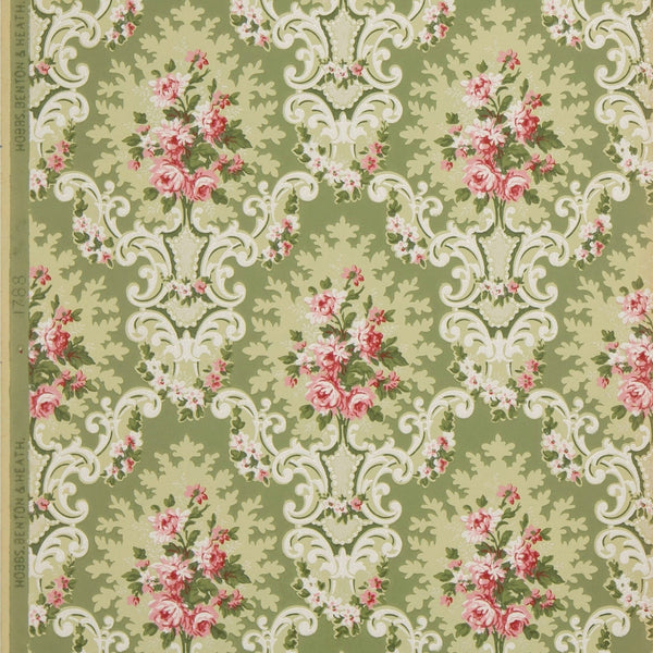 Rose Clusters in Rococo Cartouches - Antique Wallpaper Remnant