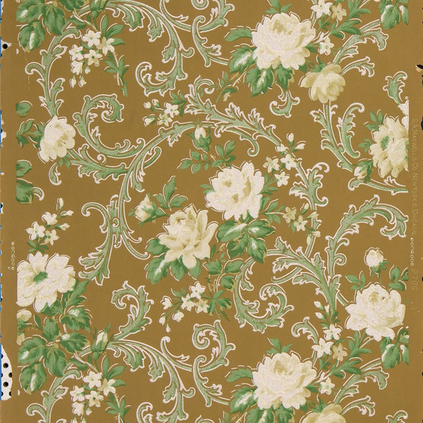 Flowers and Leaves Amid Foliate Scrolls - Antique Wallpaper Remnant