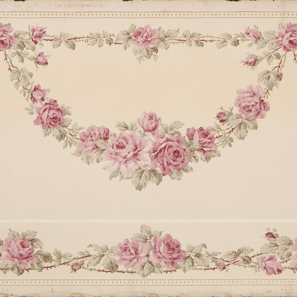 Rose Vine Swags with Lower Border - Antique Wallpaper Remnant