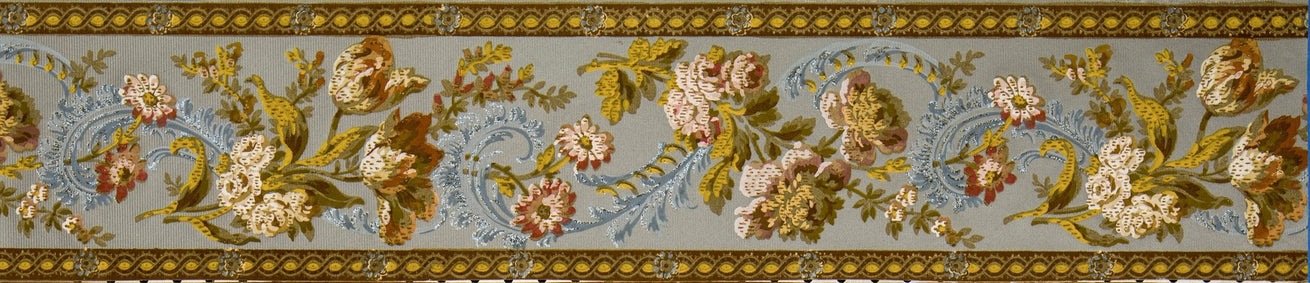"7-1/4"" Flocked Floral Border with Blue Flitter - Antique Wallpaper Roll"
