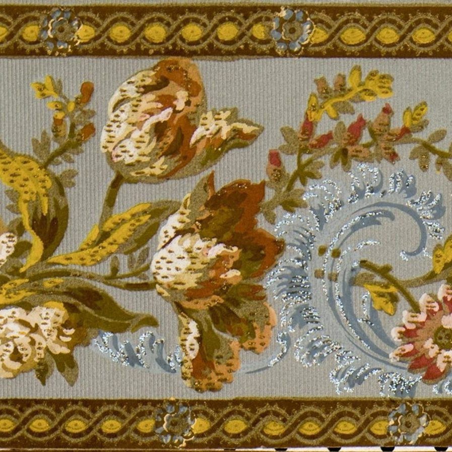 7 1 4 Floral Border With Blue Flitter Antique Wallpaper Bolling