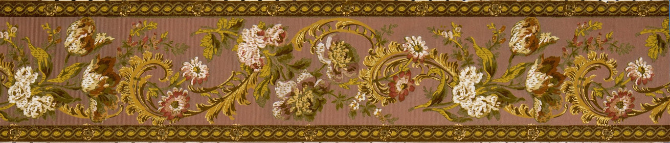 "7-1/4"" Flocked Floral Border with Gold Flitter - Antique Wallpaper Roll"