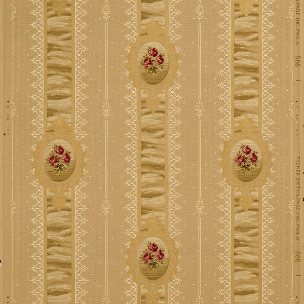 Small Rose Bouquets on Ruched Stripes - Antique Wallpaper Roll
