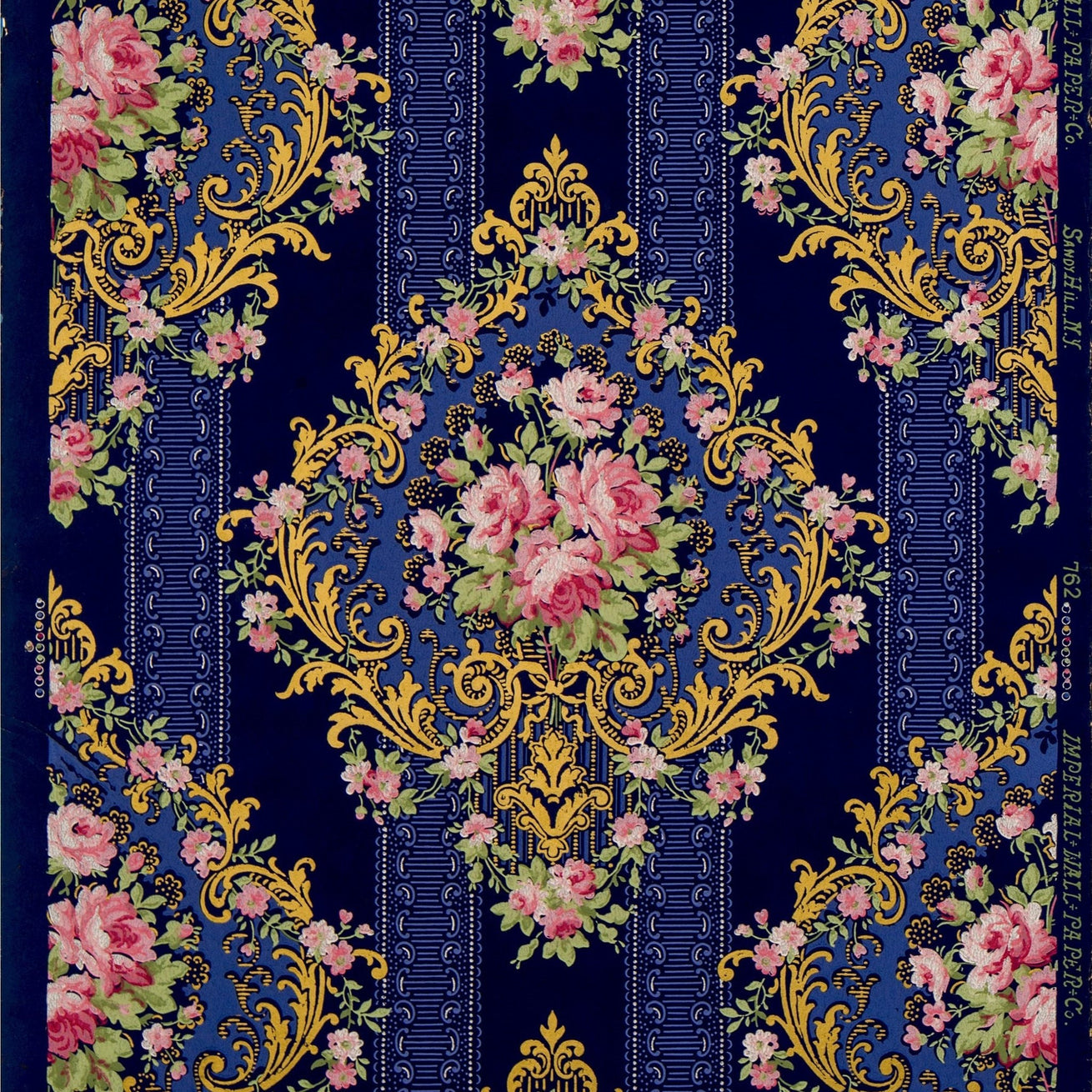 Roses in Bold Diamond Scroll Cartouches - Antique Wallpaper Remnant