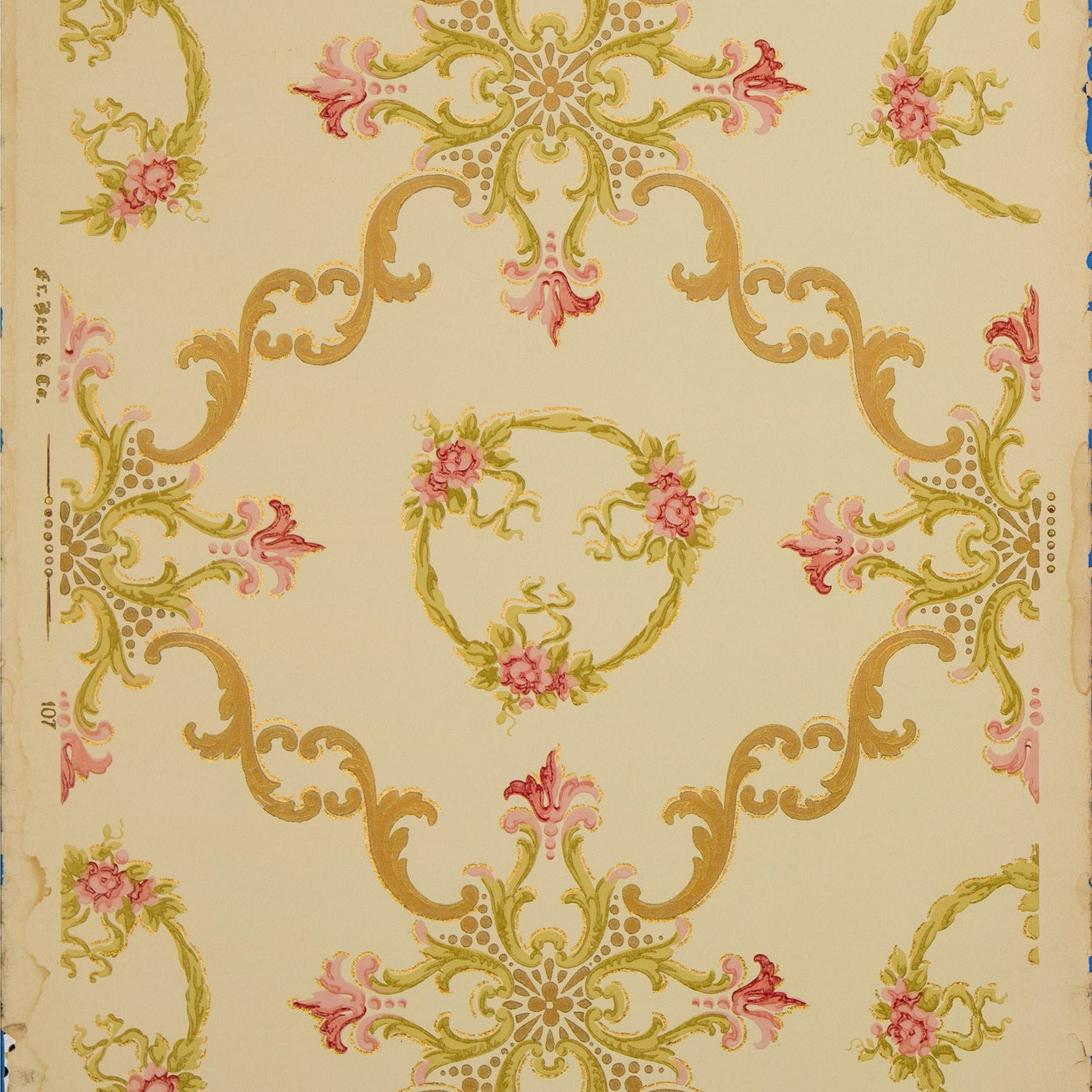 Scrolls, Wreaths and Rose Clusters - Antique Wallpaper Remnant